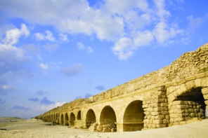 Perfectly kept aqueduct of the Roman period at coast of Mediterranean sea in Israel